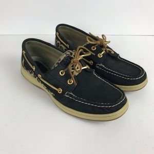 Sperry topsider Black & leopard print shoe Sz 9M